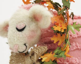 Lammies in Pink Chenille Jammies, Needle Felted Sheep, Primitive Sheep #2775