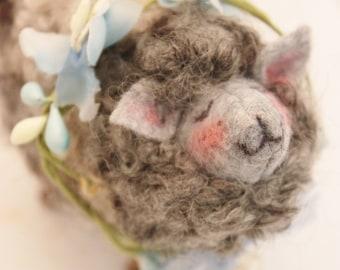 Sheep Little Gray Sheep Prim Needle Felted Sheep # 3409