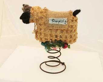Sheep Make-Do, Antique Tan Chenille Sheep Simplify Make Do, Chenille Sheep with Needlefelting Make-do #2803
