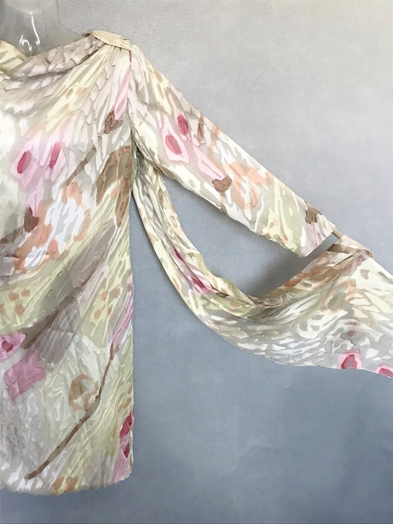 Travilla Dress, 80s Hand Painted Couture Silk Chi… - image 2