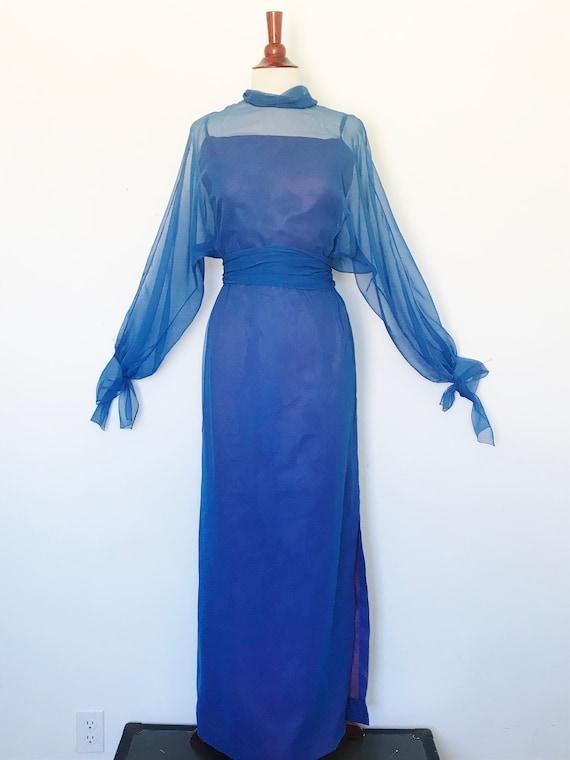 Travilla Gown 1970s Blue Chiffon / Vintage 70s Lo… - image 1