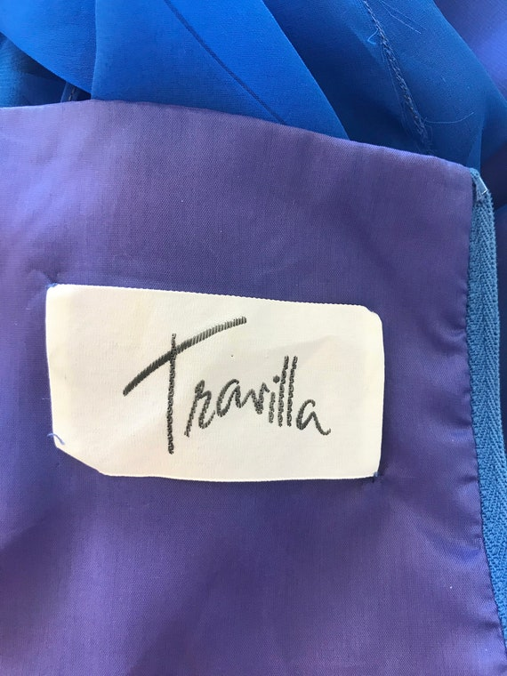 Travilla Gown 1970s Blue Chiffon / Vintage 70s Lo… - image 3