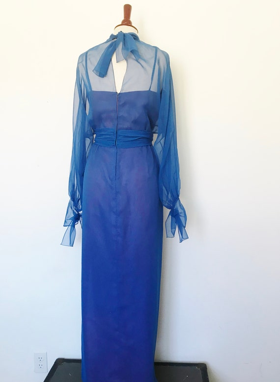 Travilla Gown 1970s Blue Chiffon / Vintage 70s Lo… - image 7