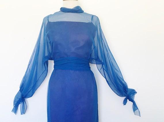Travilla Gown 1970s Blue Chiffon / Vintage 70s Lo… - image 4