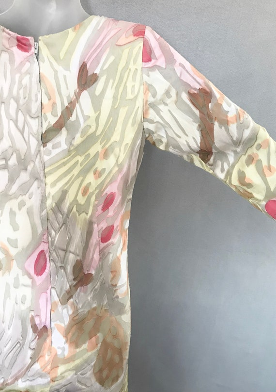 Travilla Dress, 80s Hand Painted Couture Silk Chi… - image 5