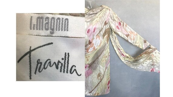 Travilla Dress, 80s Hand Painted Couture Silk Chi… - image 1