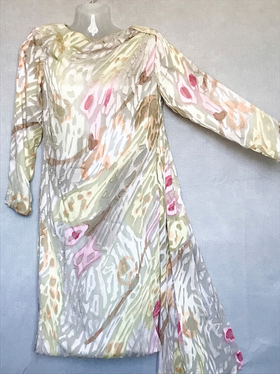 Travilla Dress, 80s Hand Painted Couture Silk Chi… - image 3