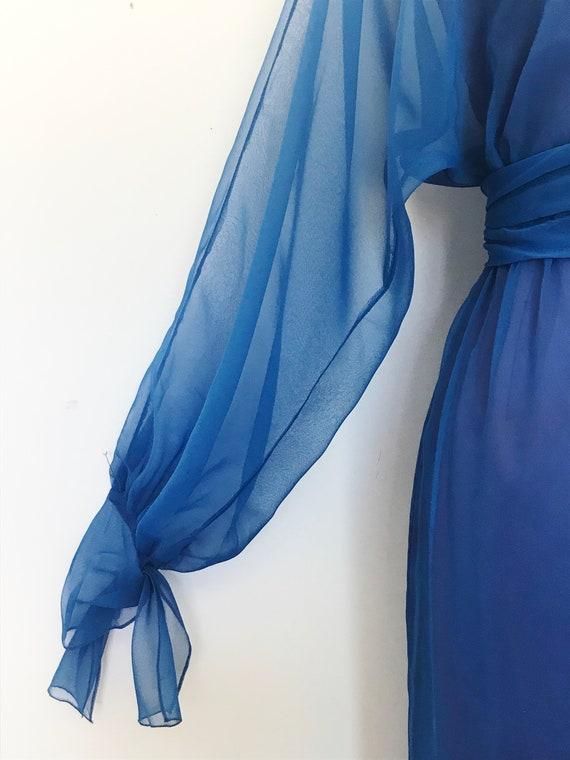 Travilla Gown 1970s Blue Chiffon / Vintage 70s Lo… - image 5
