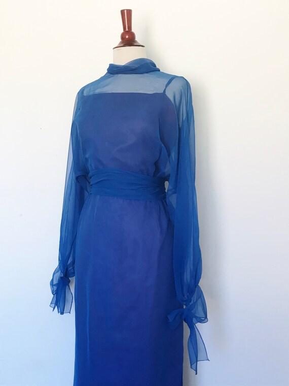 Travilla Gown 1970s Blue Chiffon / Vintage 70s Lo… - image 9