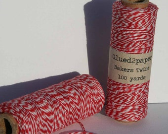 Red Twine, Red Bakers Twine, Red Baker's Twine, Red and White Twine, Cotton Twine, Christmas Twine, Colored Twine 100Yards