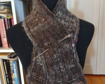 Rosy Mist handspun and handknit shawlette, coopworth wool with locks--pin not included