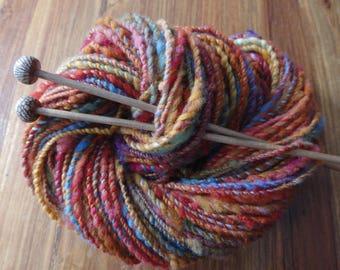 Auburn Skies handspun bulky yarn with Targhee fleece, 90 yards