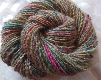 Fall Garden handspun merino, coopworth, silk and mohair yarn, 110 yards, sport weight.