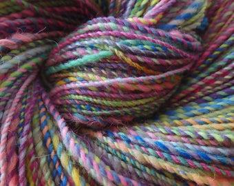 CandyDish handspun merino,silk and angelina yarn with alpaca locks, 188 yards of sport weightdelight!