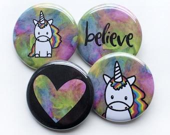 Unicorn Pins – Unicorn Buttons – 1.25 inch Button – Believe in Unicorns – Unicorn Party Favor – Unicorn Birthday