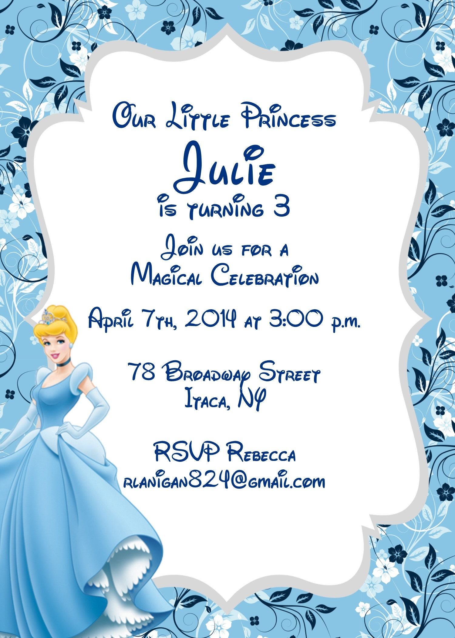 Girls Cinderella Princess Printable Birthday Party Invitation | Etsy