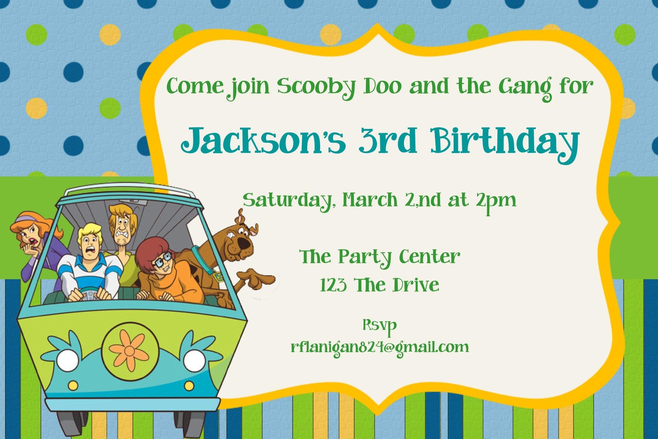 Girls or Boys Scooby Doo Printable Birthday Party Invitation | Etsy