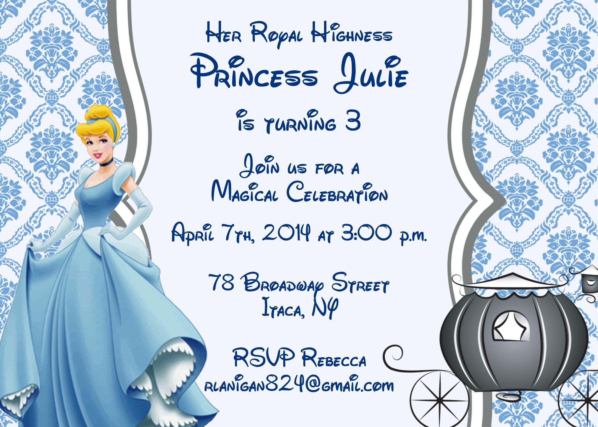 Girls Cinderella Princess Printable Birthday Party Invitation   Etsy