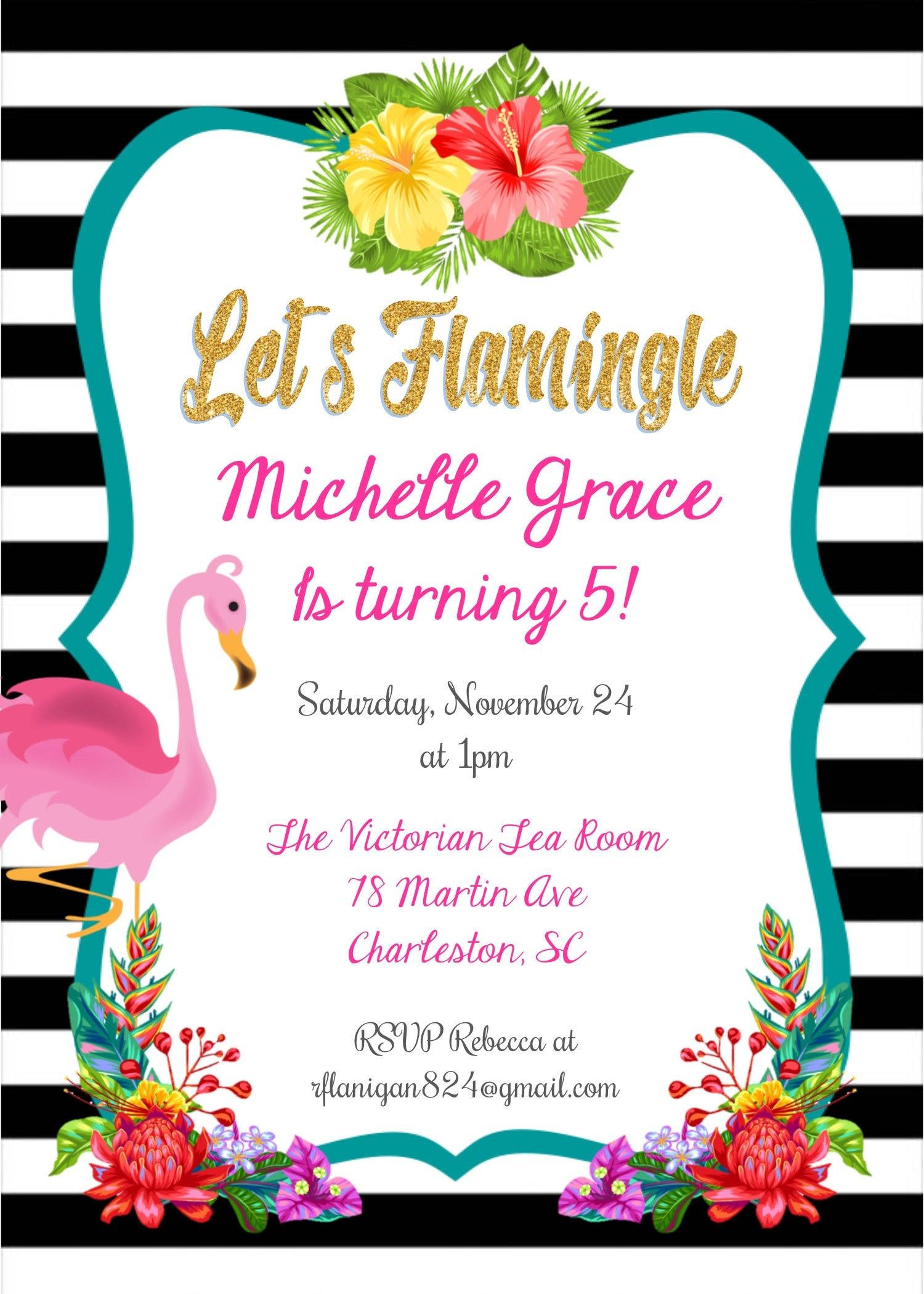 Flamingo Birthday Invitation Flamingo Invitation Flamingo Pool | Etsy
