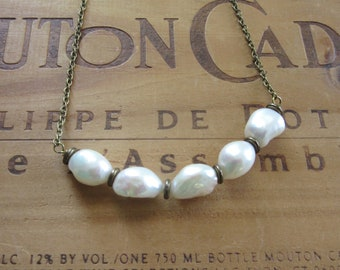 Long Necklace of Large Freshwater Pearls