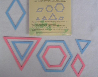 Patchwork templates hexagon triangle diamonds shapes by Clover