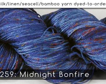 DtO 259: Midnight Bonfire on Silk/Linen/Seacell/Bamboo Yarn Custom Dyed-to-Order