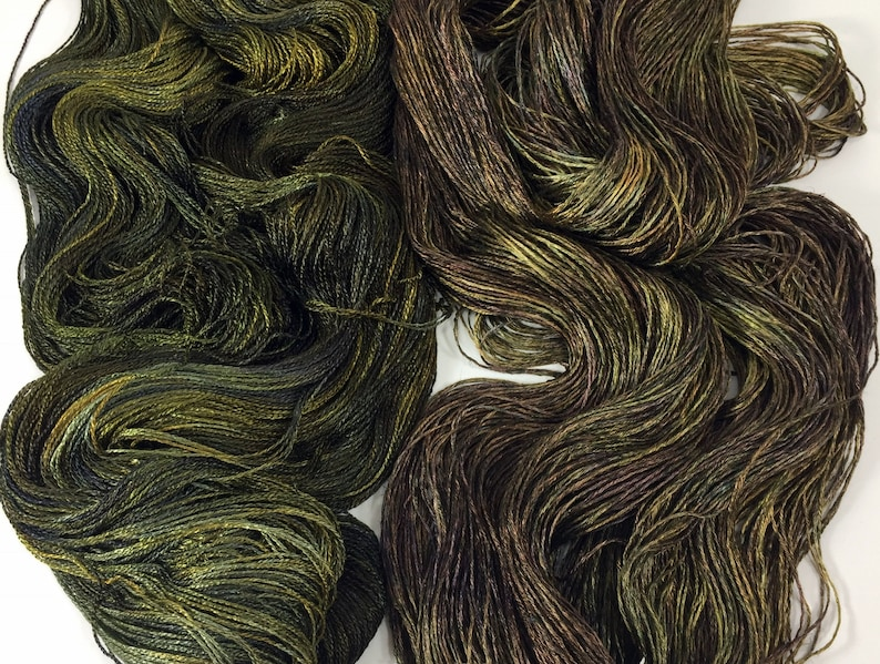 From the Lab 2xR Olive on SilkLinenSeacellBamboo Yarn Custom Dyed-to-Order DtO 410