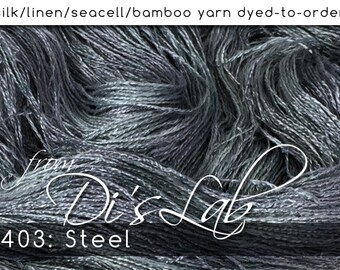 From the Lab - DtO 403: Steel on Silk/Linen/Seacell/Bamboo Yarn Custom Dyed-to-Order