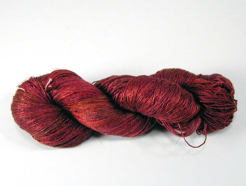 Adobe Red on SilkLinenSeacellBamboo Yarns Custom Dyed-to-Order DtO 108