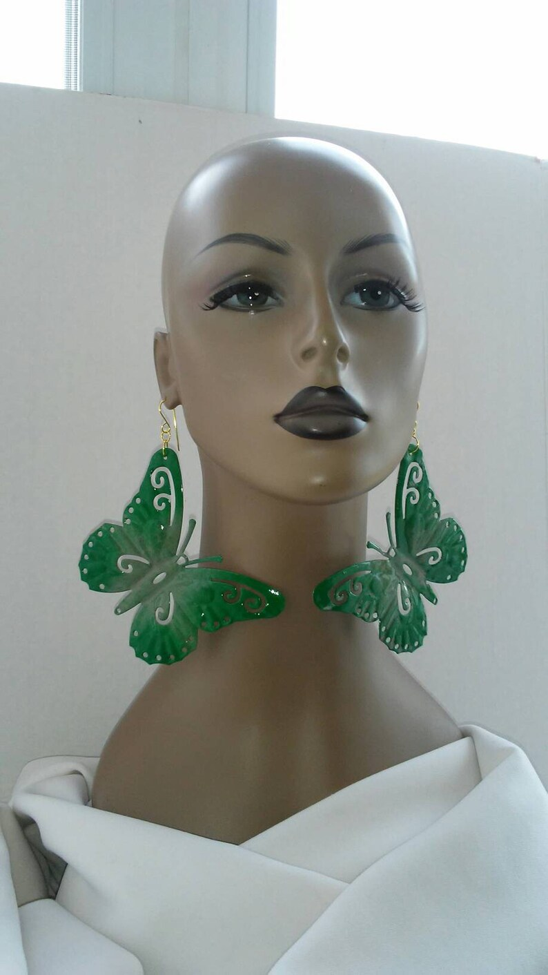 Fashion Earrings Women/'s Earrings Large Earrings Gorgeous Multicolor Green and Olive Green Hand Painted Aluminum Butterfly Earrings