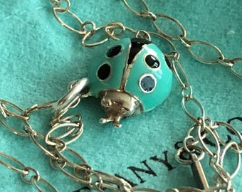 f3d7e9496840 Tiffany   Co Retired Blue Enamel Lady Bug and 18 inch Oval Chain