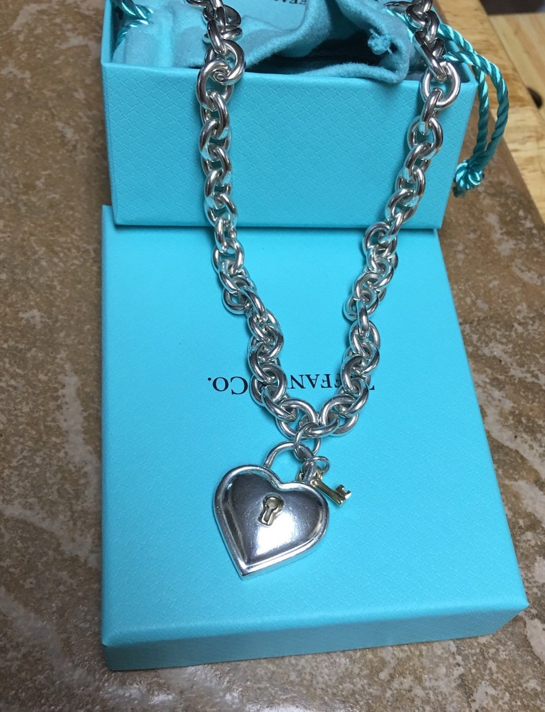 60cdf625d Tiffany & Co RARE 750/925 Heart padlock and key necklace | Etsy