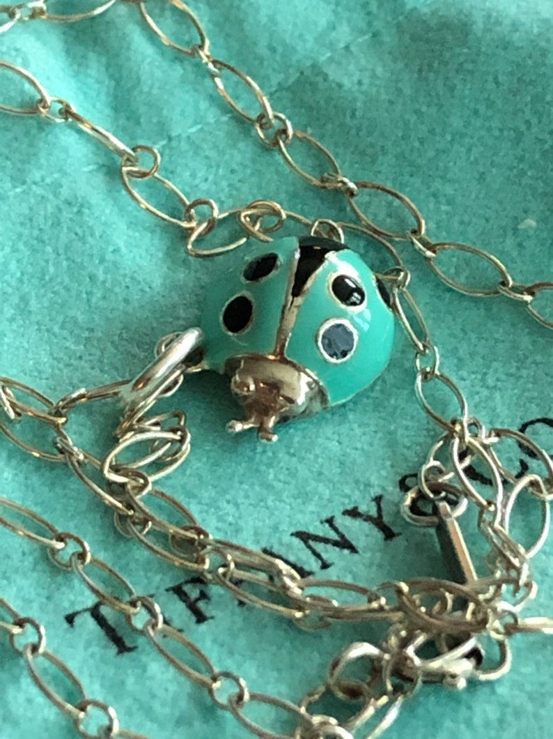c2aa4cc93 Tiffany & Co Retired Blue Enamel Lady Bug and 18 inch Oval | Etsy