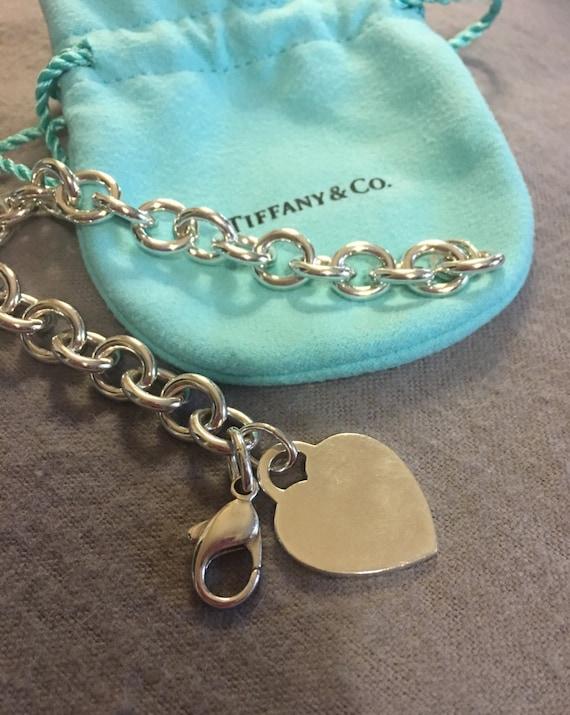 408f91b88 Vintage Tiffany & Co Blank Heart Link Bracelet Retired | Etsy