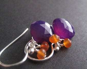 Pansies ... Purple Chalcedony, Carnelian and Sterling Silver Earrings