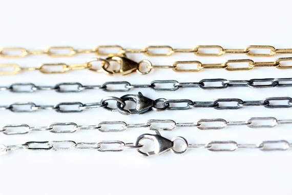 30 Inch RECTANGLE Link Oxidized Sterling Silver Chain