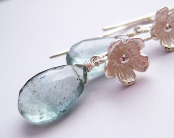Lake ... Moss Aquamarine and Sterling Silver Earrings