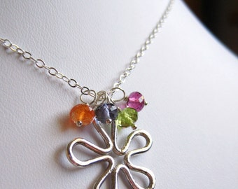 Flower Garden ... Fine Silver Flower, Rubilite Garnet, Peridot, Iolite, Oregon Sunstone and Sterling Silver Necklace