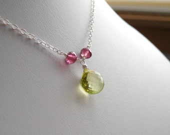 Quench ... Lemon Quartz, Rubilite Garnet and Sterling Silver Necklace
