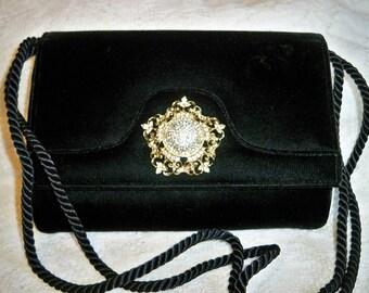 SALE! Vintage Black Velvet Evening Purse Jeweled Rhinestone Clasp Handbag