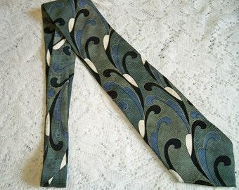 Vintage 1980s Mens Disco Era Silk Necktie Feather Pattern Portico Tie