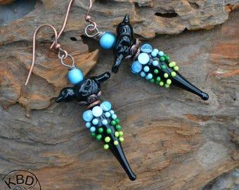 Blackbird, Lampwork glass earrings
