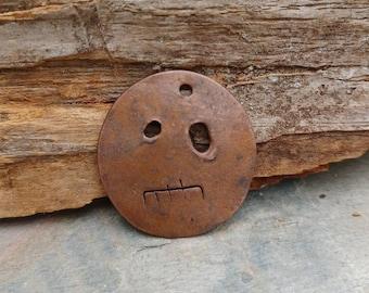 Copper Scary face Small Pendant #996.