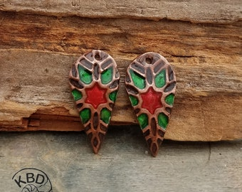 Painted Copper Kaleidoscope Drop pair with Resin #653.