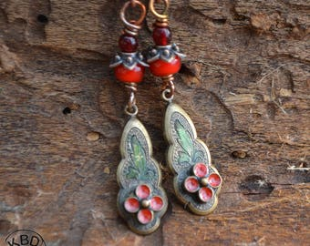 Painted Vintage Drops with Ice Resin and Red Glass bead Earrings