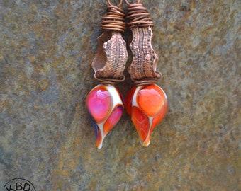 Snakeskin, Lampwork Headpins and Copper Earrings #738