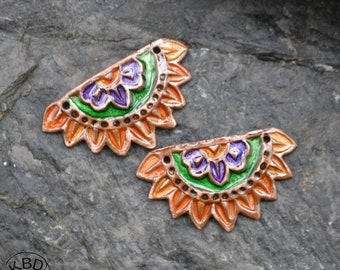 Painted Copper Leaf pair with ICE Resin #678. 1 pair