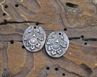 Copper Embossed Oak Leaf Oval Component (1 pair)