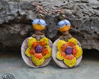 Spring Fling Flower Polymer Clay and Lampwork Glass Earrings #424 earrings