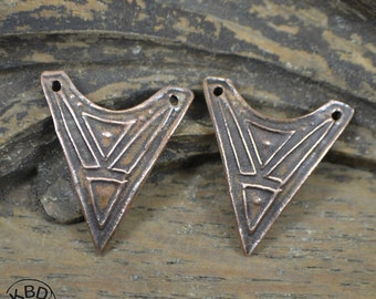 Copper Arrowhead Original Triangles Texture Tanfouk Component (one pair)